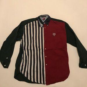 Vtg Tommy Hilfiger shirt Color blocking striped